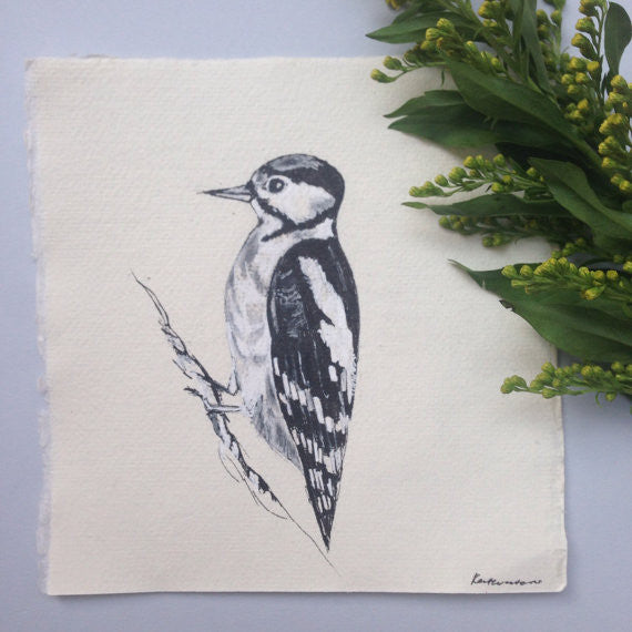 Woodpecker Original Ink Drawing