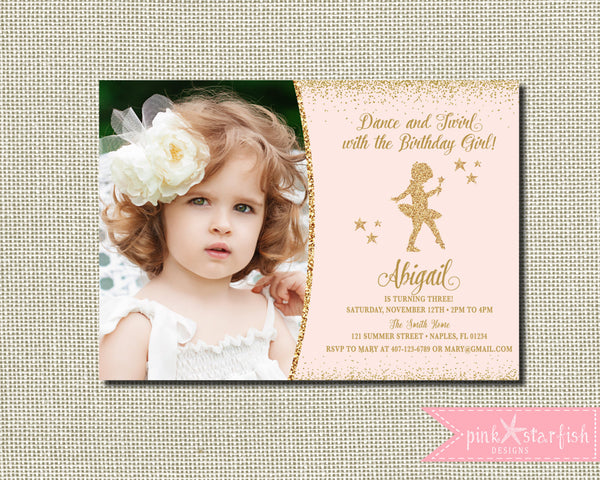 Birthday invitations pink starfish designs ballerina invitation ballerina birthdaypink and gold tutu birthday invitation tutu birthday invitation filmwisefo Image collections