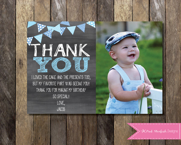 Unique Chalkboard Thank You Card with Picture, Chalkboard Thank You  EH49