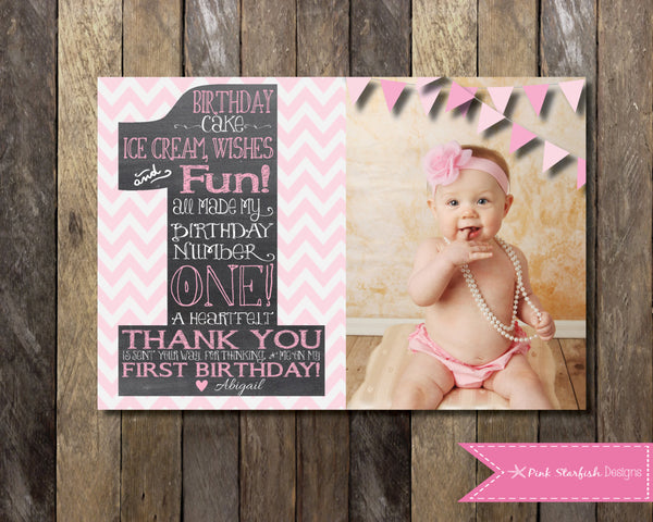 Rainbow Thank You Chalkboard Thank You First Birthday Thank You – First Birthday Thank You Cards