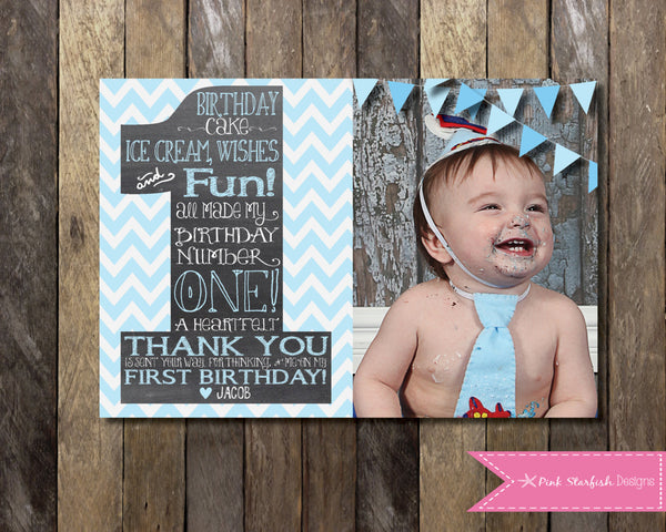 New Chalkboard Thank You Card with Picture, Chalkboard Thank You  FL35