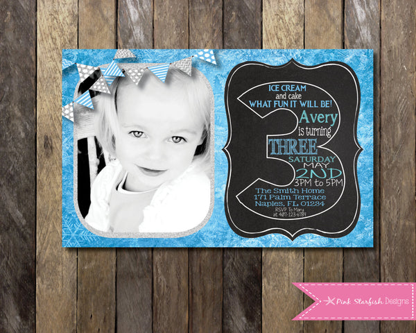 Birthday Invitations Pink Starfish Designs – Snowflake Birthday Invitations