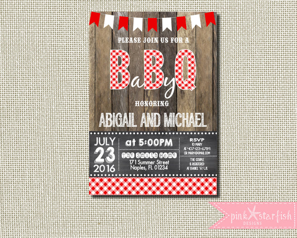 Baby Q Shower Invitation, Rustic Baby Shower Invitation, BBQ Shower  Invitation, Joint Baby