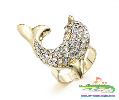 Bejewelled Dolphin Ring - Cute Creatures Animal Jewellery
