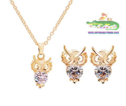 Little Owl Pendant and Earrings Set - Silver or Gold Finish - Cute Creatures Animal Jewellery