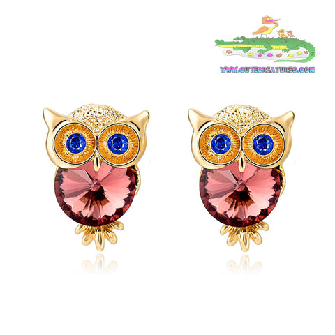 Crystal Owl Stud Earrings in Choice of Gem Colours - Cute Creatures Animal Jewellery