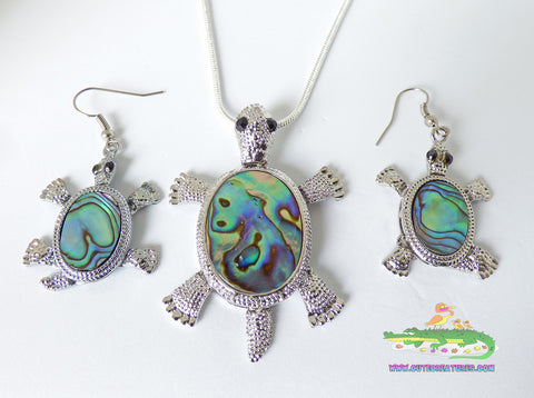 Abalone Shell Turtle Themed Pendant and Earrings Set - Cute Creatures Animal Jewellery