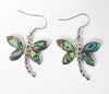 Abalone Shell Dragonfly Pendant and Earrings Set - Cute Creatures Animal Jewellery