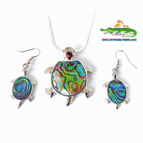 Abalone Shell Turtle Set - Cute Creatures Animal Jewellery