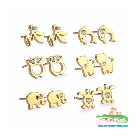 Set of SIX Beautiful Gold Plated Stud Earrings - Cute Creatures Animal Jewellery