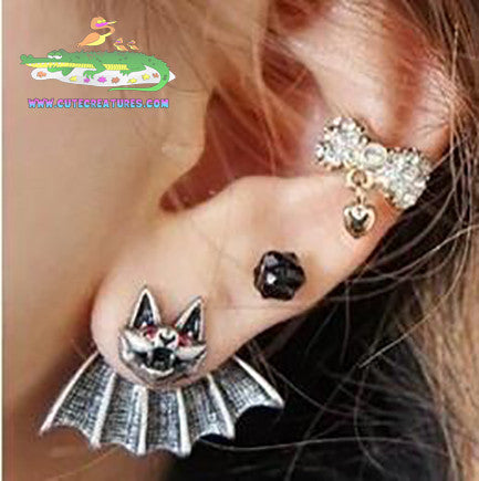 Bat Earrings in Antique Look Finish - Cute Creatures Animal Jewellery