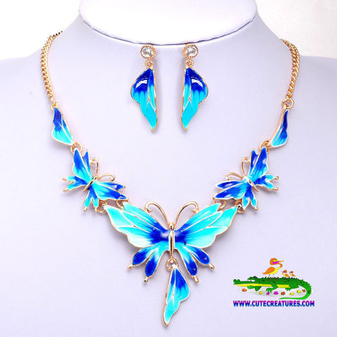 Bold and Beautiful: Butterfly Themed Necklace and Earrings Set - 3 Colours to choose from - Cute Creatures Animal Jewellery