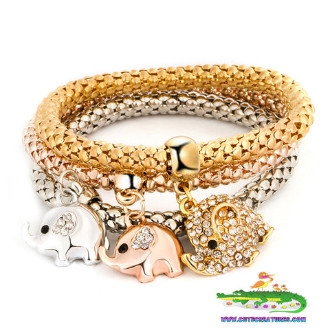 Elephant Themed Set of Three Charm Bracelets - Cute Creatures Animal Jewellery