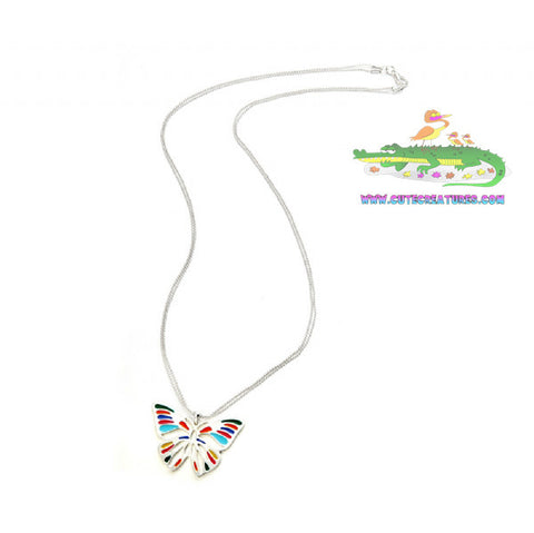 Colourful Butterfly Pendant on Long Chain - Cute Creatures Animal Jewellery