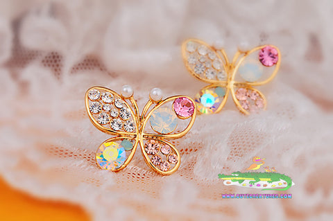 Cute and Colourful Butterfly Earrings. Lots of Crystal Gems! - Cute Creatures Animal Jewellery