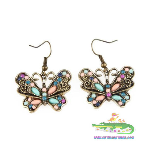 Antique Bronze Coloured Butterfly Drop Earrings - Cute Creatures Animal Jewellery