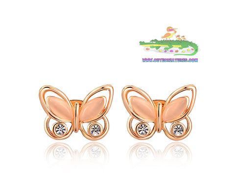 Rose Gold Plated Butterfly Earrings with Zircon Gem Insert - Cute Creatures Animal Jewellery