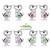 Cute Dachshund Puppy Platinum Plated Stud Earrings - Great Choice of Gem Colours! - Cute Creatures Animal Jewellery