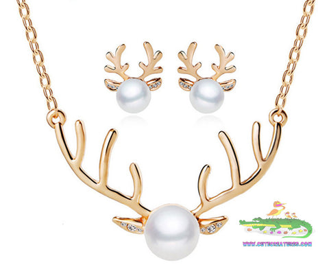 Gold Plated Deer Antler Themed Pendant/Chain with Matching Earrings - Cute Creatures Animal Jewellery