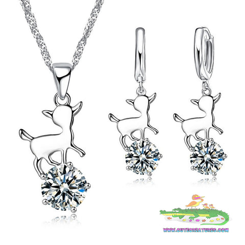 Pretty Deer Themed Pendant with Matching Earrings - Cute Creatures Animal Jewellery