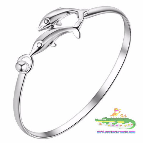 Twin Dolphin Bangle - Beautiful! - Cute Creatures Animal Jewellery