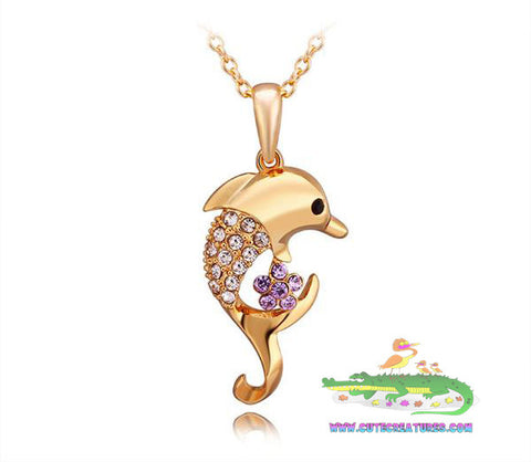 Real 18K Gold Plated Bejewelled Dolphin Pendant with Chain - Cute Creatures Animal Jewellery