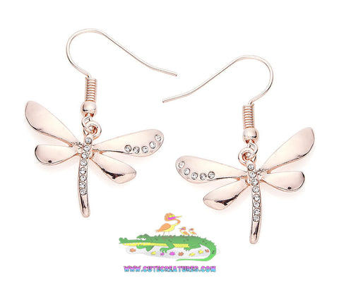 Rose Gold Coloured Dragonfly Drop Earrings - Cute Creatures Animal Jewellery