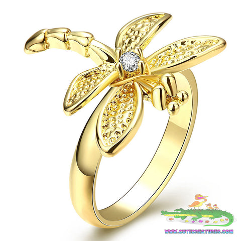 Gold Plated Dragonfly Ring Size 7 - Cute Creatures Animal Jewellery