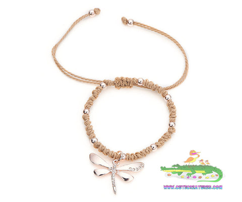Rope Bracelet with Rose Gold Colour Dragonfly Charm - Cute Creatures Animal Jewellery