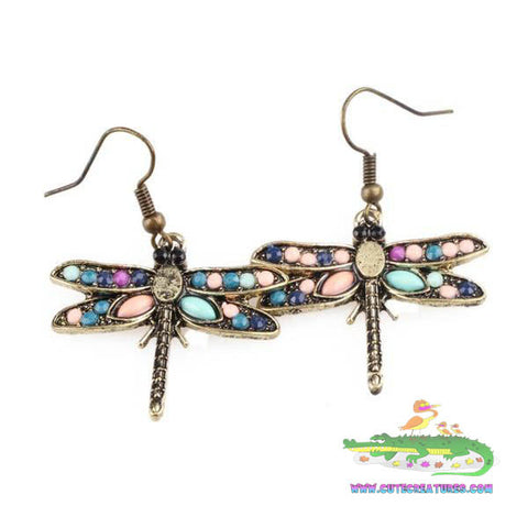 Dragonfly Bronze Tone Drop Earrings - Cute Creatures Animal Jewellery
