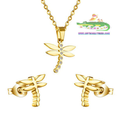 Dainty and Pretty Gold Coloured Dragonfly Pendant and Earrings Set - Cute Creatures Animal Jewellery