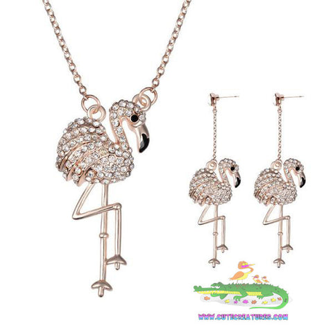 Dainty Gem Flamingo Pendant with Matching Earrings - Cute Creatures Animal Jewellery