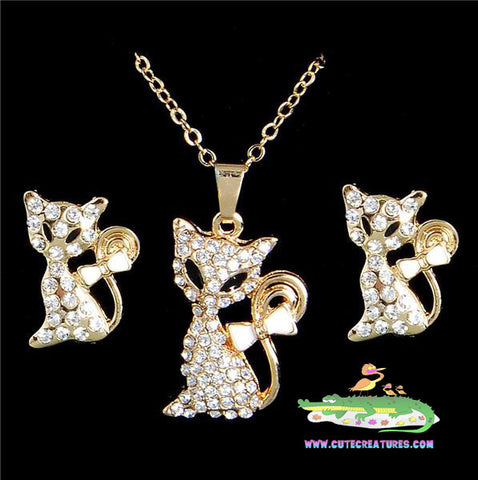 Cute Foxy Pendant/Chain with Matching Earrings - Cute Creatures Animal Jewellery