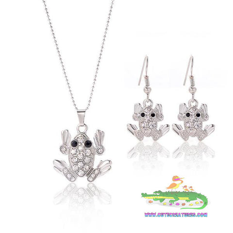 Frog Themed Gem Encrusted Pendant and Earrings Set - Cute Creatures Animal Jewellery