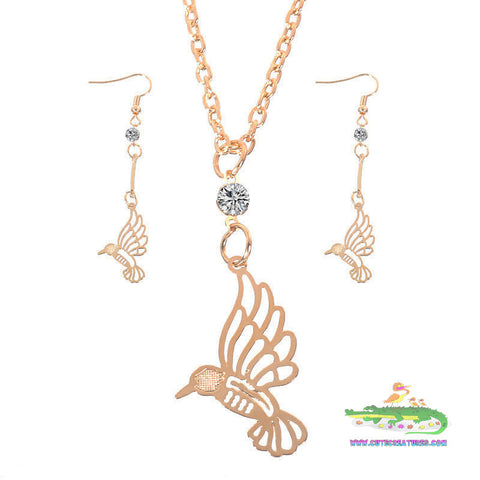 Beautiful Hummingbird Pendant with Matching Earrings Set - Cute Creatures Animal Jewellery