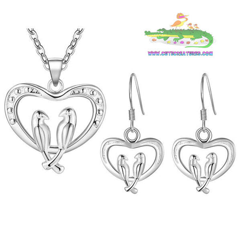 Lovebirds Pendant with Matching Earrings - Cute Creatures Animal Jewellery