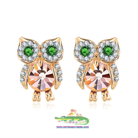 Sparkling Austrian Crystal Owl Stud Earrings - Cute Creatures Animal Jewellery