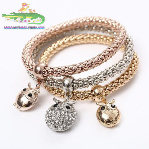 Owl Bracelets, Set of Three in Silver, Gold and Rose Gold Colours. - Cute Creatures Animal Jewellery