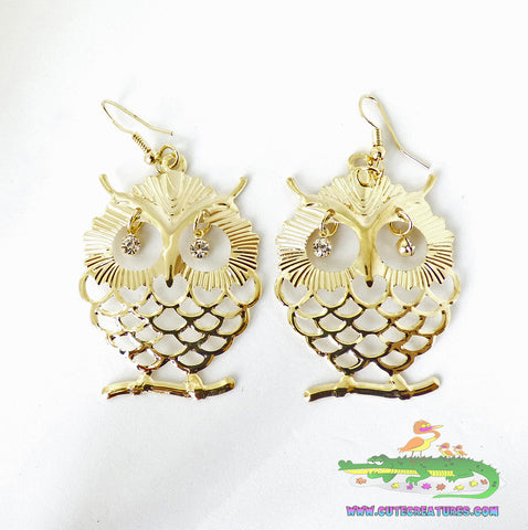 Large Owl Dangle Earrings - Gold or Silver Colour - Cute Creatures Animal Jewellery