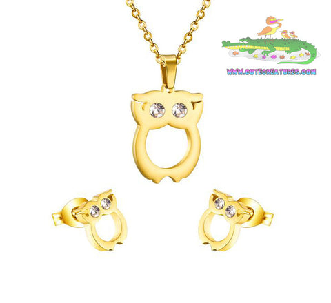 Owl Pendant and Earrings Set - Cute Creatures Animal Jewellery