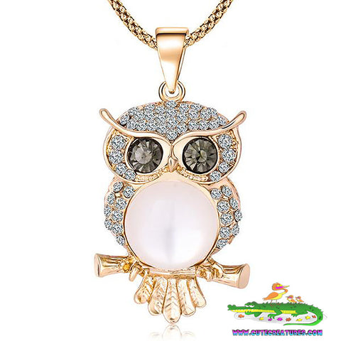 Showy and Sparkly Big Owl Pendant and Chain - Cute Creatures Animal Jewellery