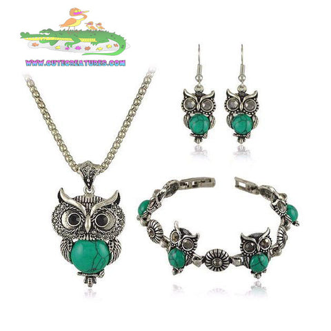 Antique Style Silver Plated Green Owl Set - Cute Creatures Animal Jewellery