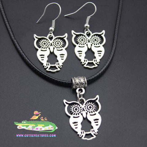 Adorable and Cute! Owl Pendant and Earrings. - Cute Creatures Animal Jewellery