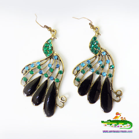 Big and Bright Peacock Dangle Earrings - Cute Creatures Animal Jewellery