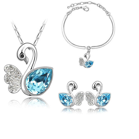 Gorgeous Swan Jewellery Set consisting of Necklace/Earrings/Bracelet - Choice of Colours - Cute Creatures Animal Jewellery