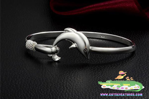 Dolphin Themed Bangle - Silver Plated - Cute Creatures Animal Jewellery
