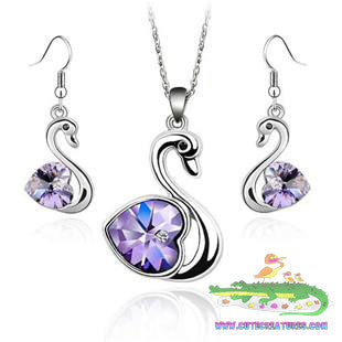 Nice! Swan Pendant/Chain with matching Drop Earrings. Choose from a selection of Gem colours. - Cute Creatures Animal Jewellery