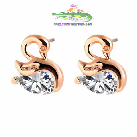 Gorgeous Bejewelled Swan Stud Earrings - Choice of Gold or Silver Colours - Cute Creatures Animal Jewellery