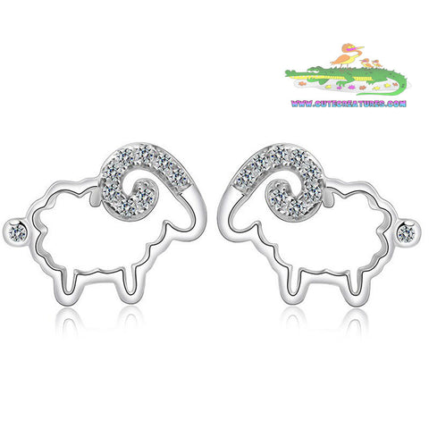 925 Sterling Silver Tiny Ram Earrings - Cute Creatures Animal Jewellery