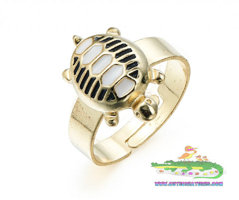 Cute Adjustable Turtle Ring - Cute Creatures Animal Jewellery